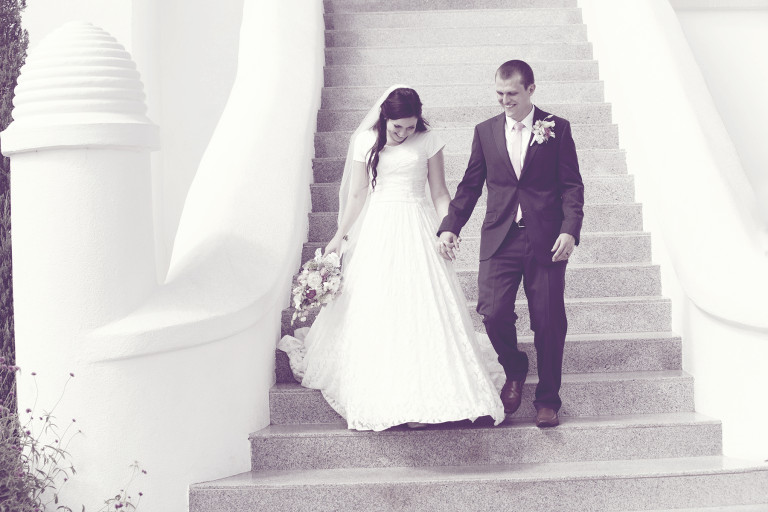 LDS Temple Weddings St George stairs B&W