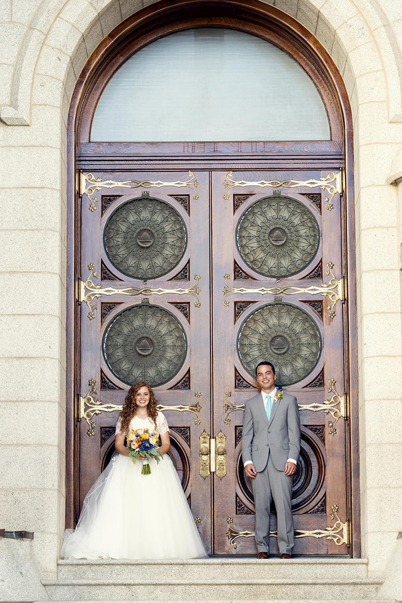LDS Temple Weddings SLC doors bouquet suit