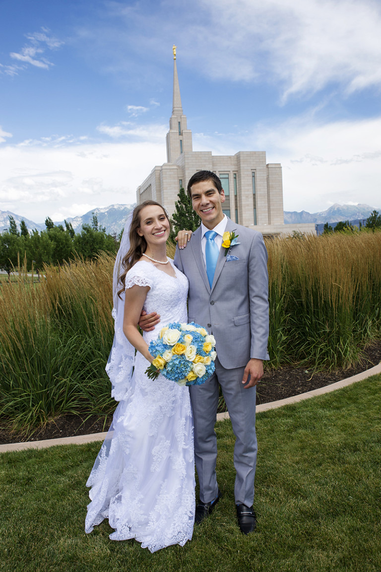 LDS Temple Weddings Oquirrh Mountain blue yellow