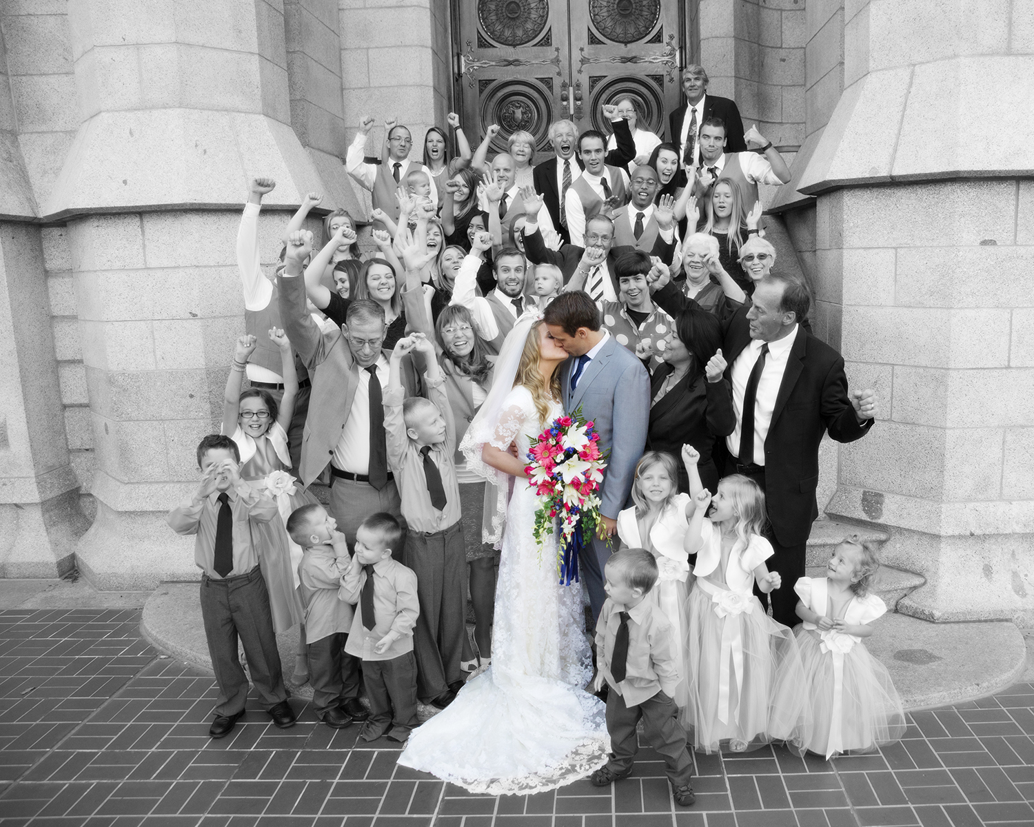 LDS Temple Weddings B&W color kiss SLC