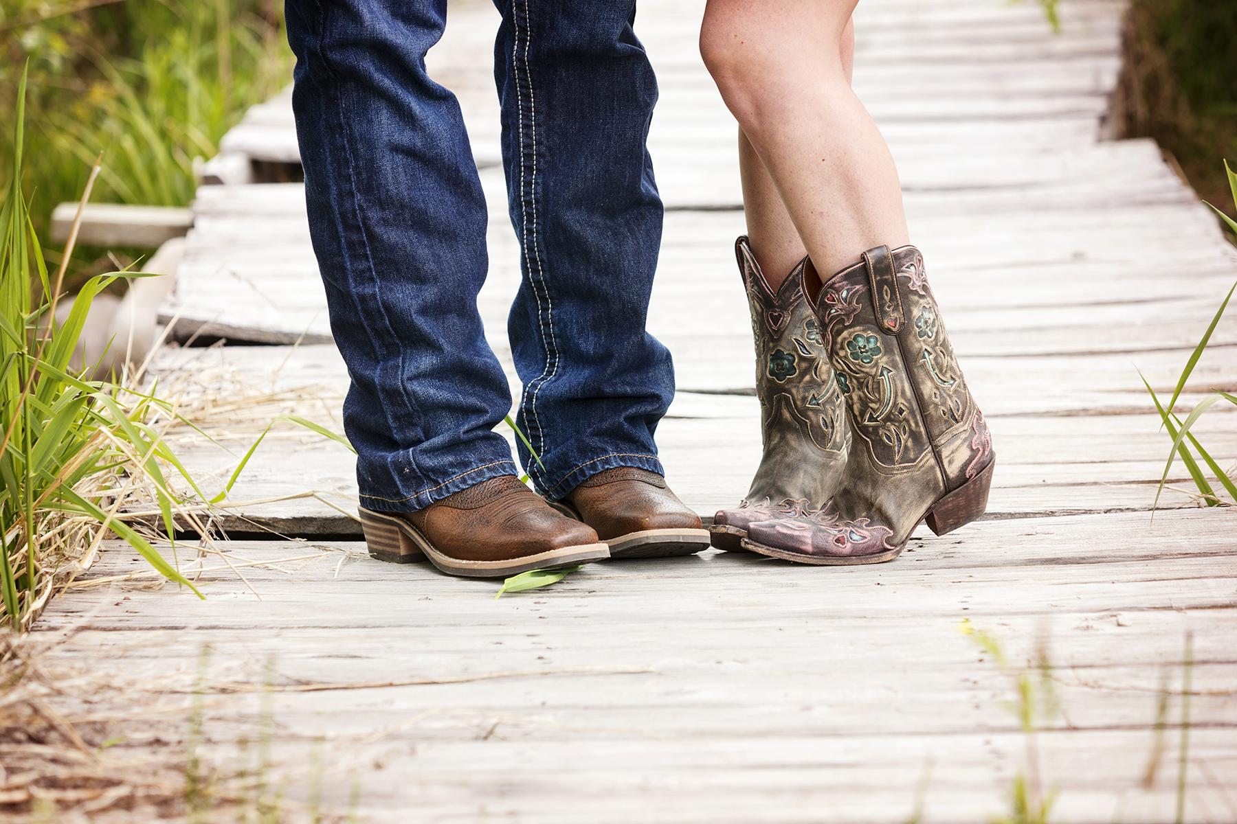 Utah Engagement Pictures cowboy boots bridge