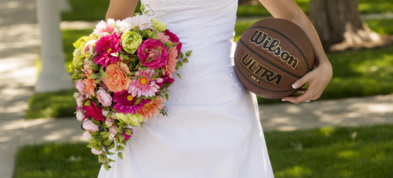 Bride Holding Bouquet and Basketball
