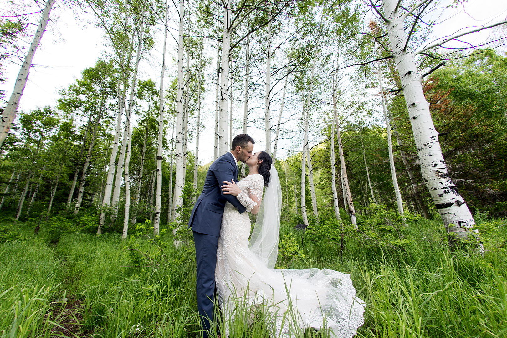 Groom and Bride Formal Wedding Photo in Mountains