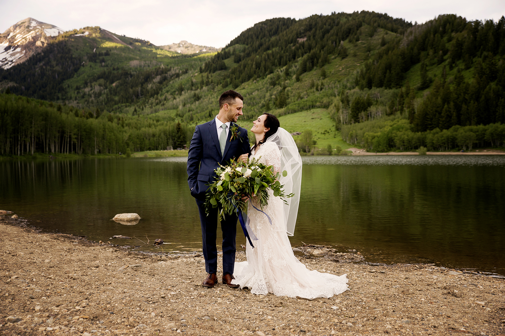 Groom and Bride Formal Wedding Photo by Lake
