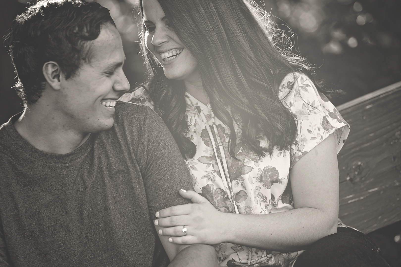 Bride and Groom Laughing Engagement Picture B&W