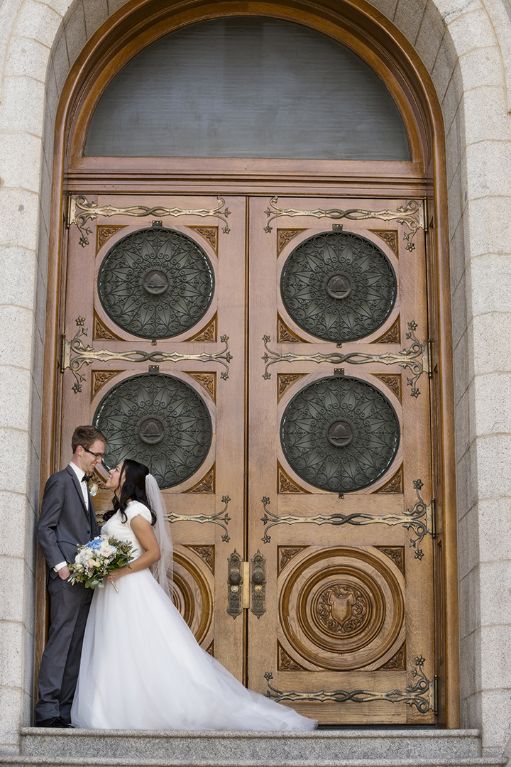 SLC Temple Doors Bride and Groom