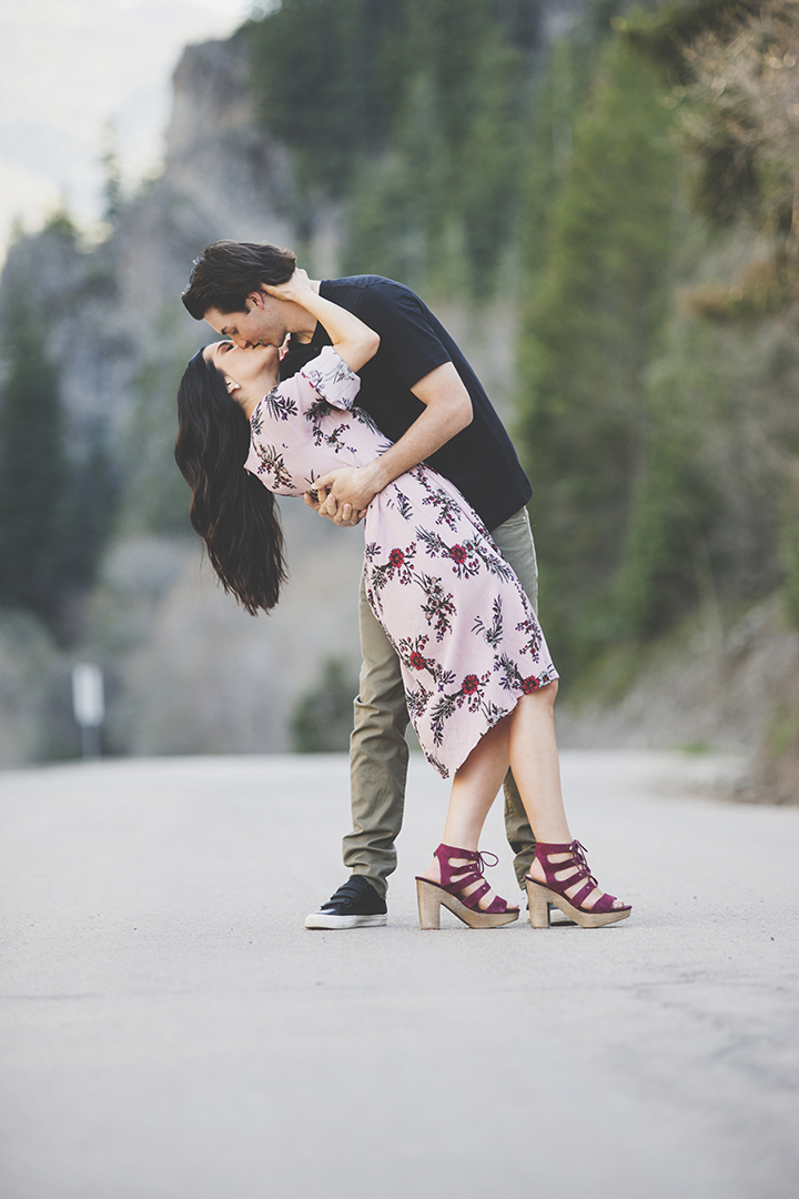 Engagement Kiss on Road