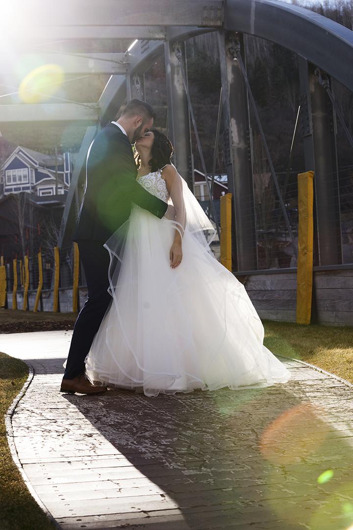 Wedding Pictures on Park City Main Street Bridge