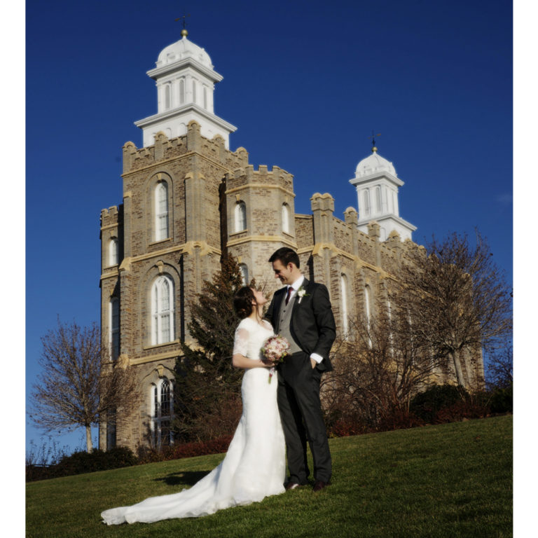 Bride and Groom with Full View of Logan Temple