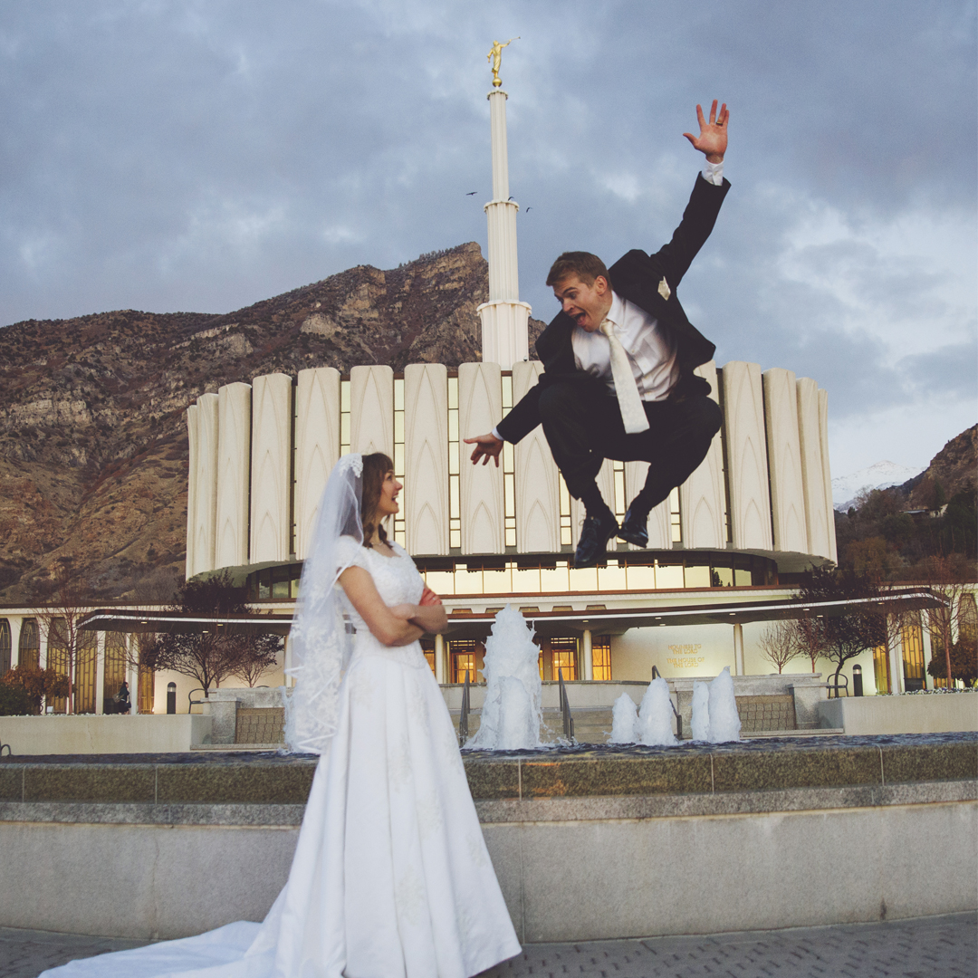 Groom jumping for joy at Provo Temple