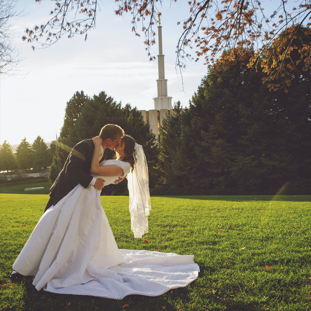 Bride and Groom Kissing at Sunset at Provo Temple