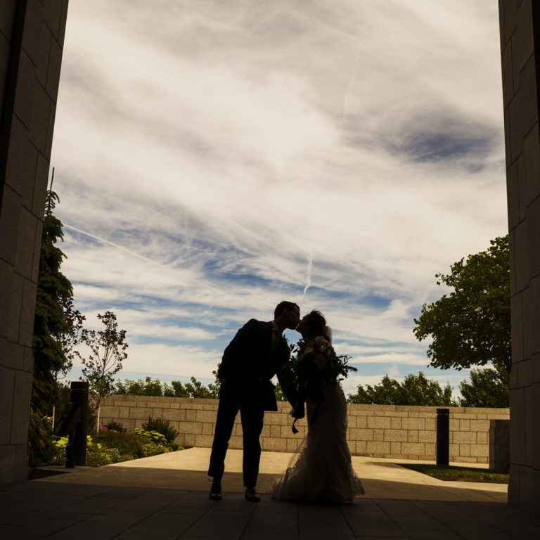 Silhouette View of Bride and Groom at Draper Temple