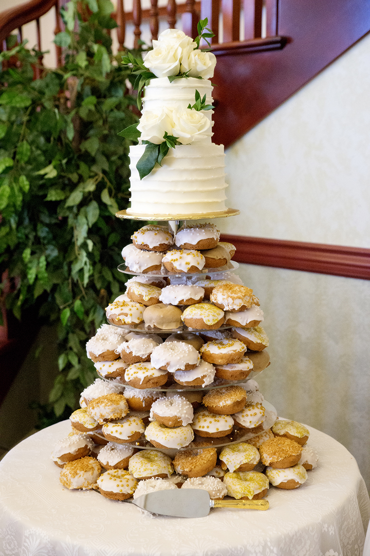 Wedding cake and donuts