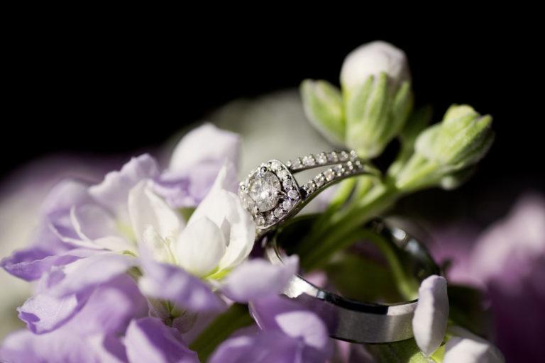 Wedding Rings on Purple Flowers