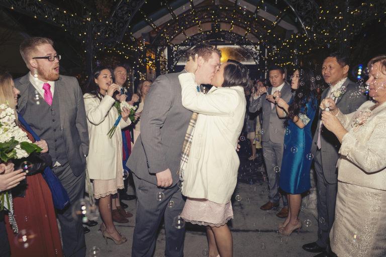 Wedding Bubbles Exit Kiss