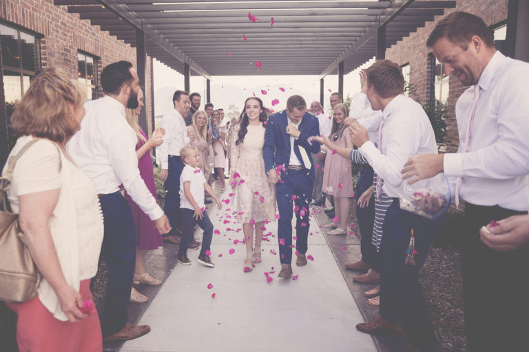 Flowers tossed during Wedding Grand Exit