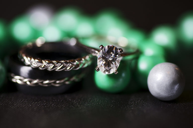 Wedding RIngs with Green Gumballs
