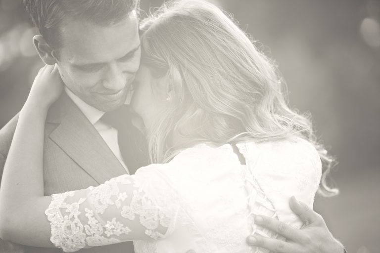 Soft focus black and white wedding first dance