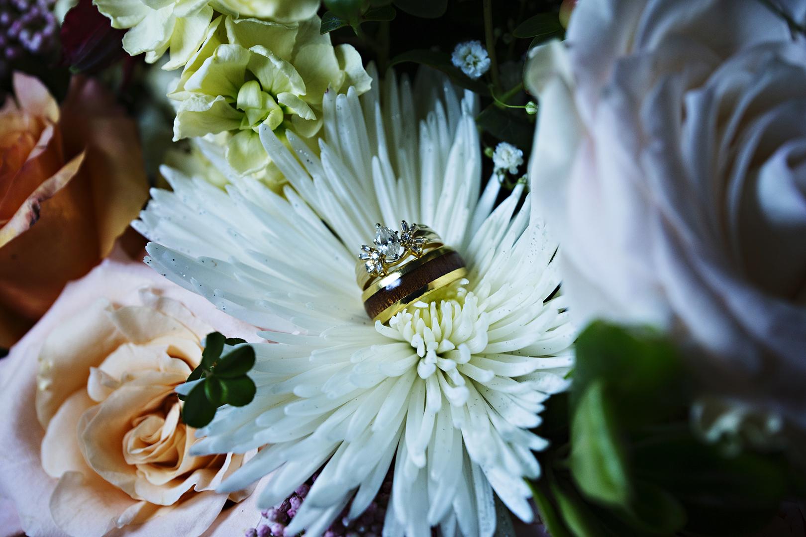Wedding Rings in Flower Bouquet