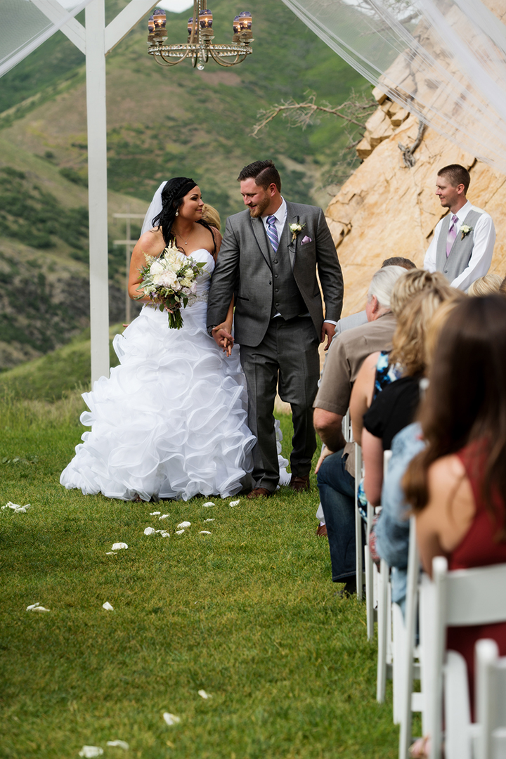 Wedding Photography at Louland Falls Ceremony Walking down the aisle