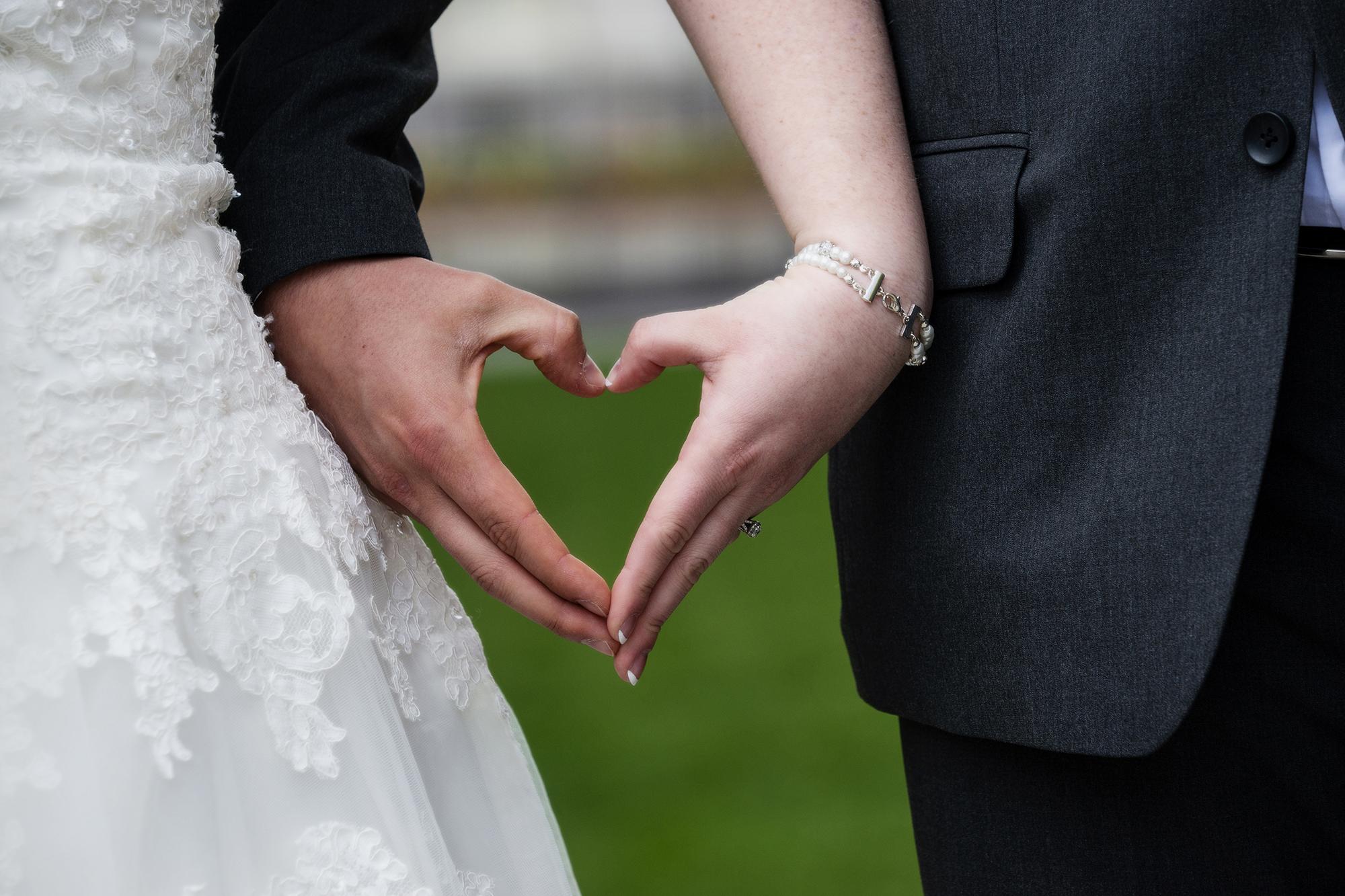 Bride and Groom Heart hands