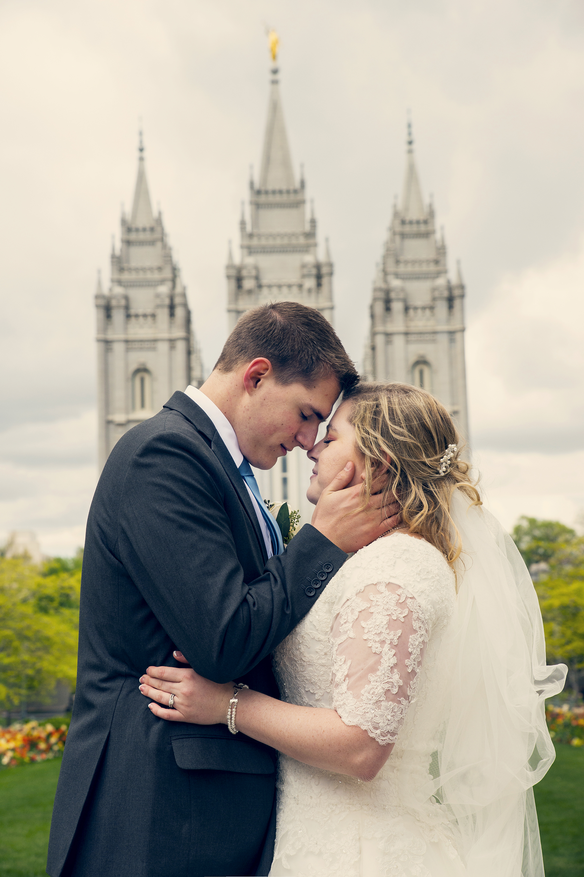 Bride and Groom embracing at Slat Lake City Temple