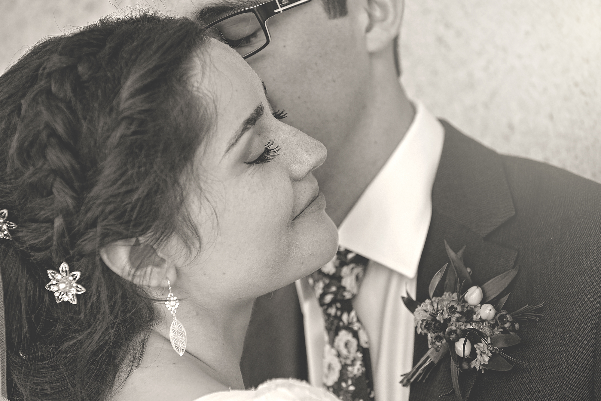 Bride and Groom black and white embrace
