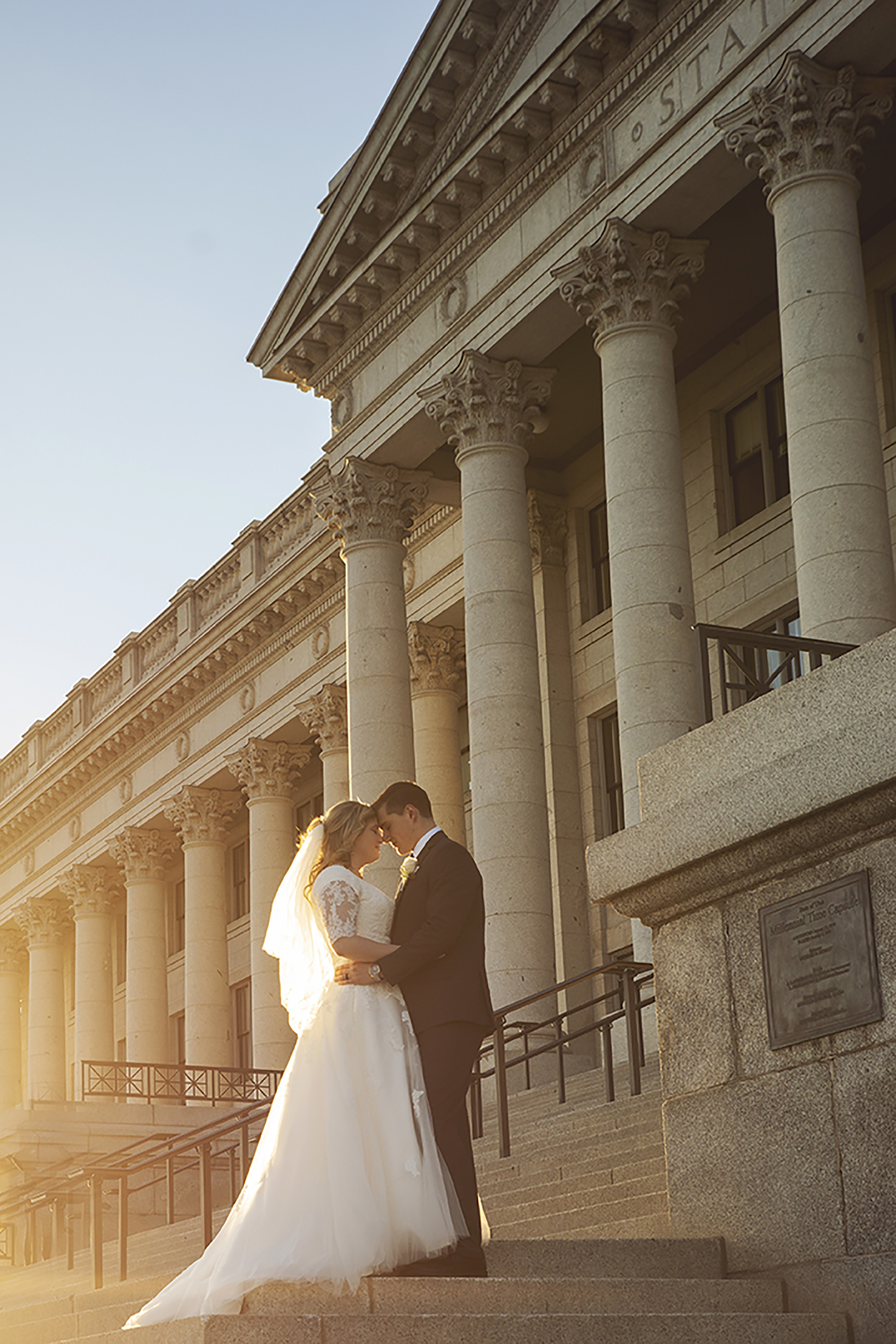 Bride and Groom at Sunset at Salt Lake City Capitol Building