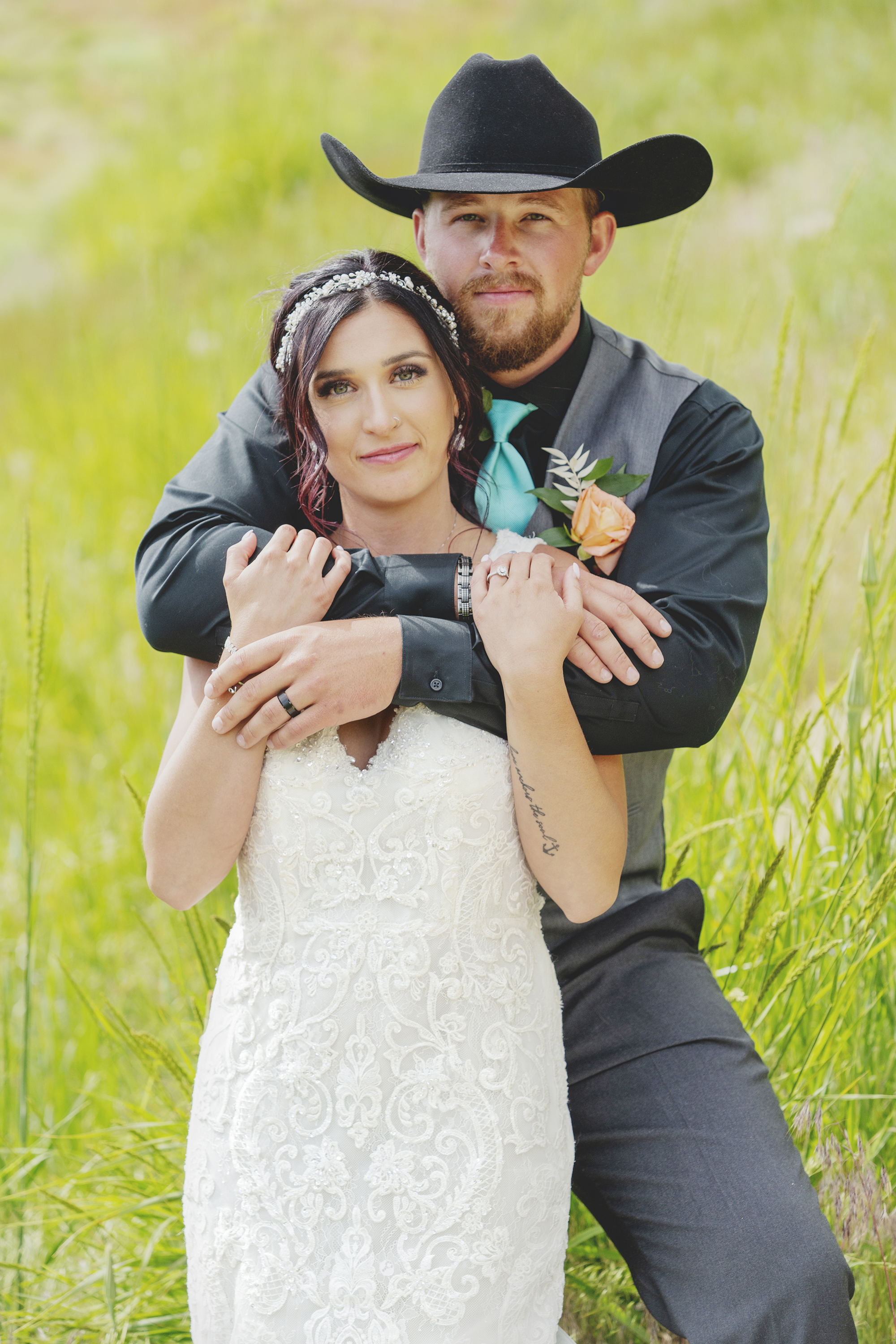 Bride and Groom in Cowboy Hat