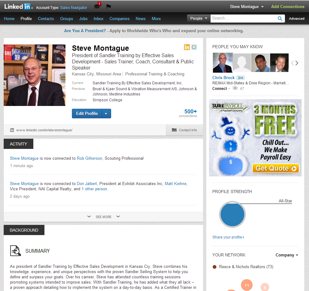 New LinkedIn Profiles and Recommendations