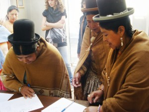 Aymara Women at a Forum about Public policies and indigenous women in La Paz, Bolivia.