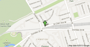 2696 St. Clair Ave. West ( just east of Scarlett Rd).  M6N 1M2  MAP