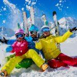three women skiing at resort