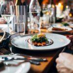 Dinner table set for virtual dinner party