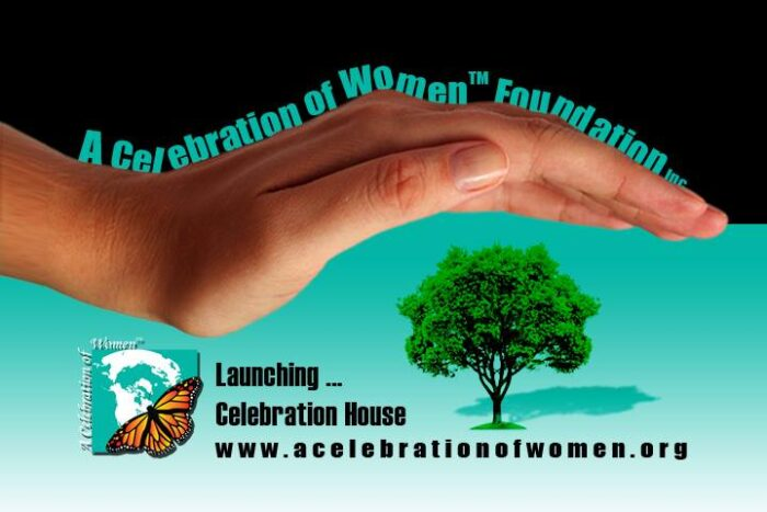 hand held over tree with logo for a celebration of women foundation