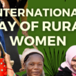 sic rural women smiling while standing in field with text title saying INTERNATIONAL DAY OF RURAL WOMEN