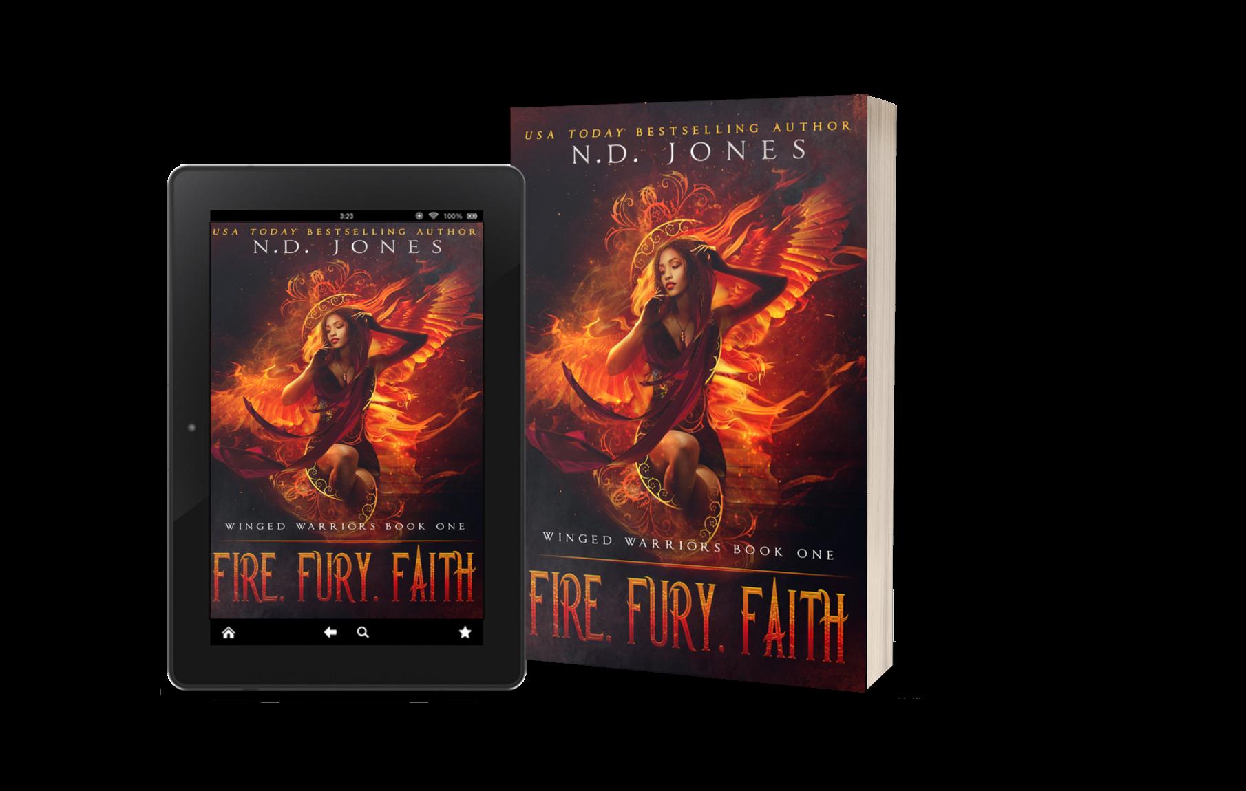 Fire Fury Faith Angel Fantasy Romance by Paranormal Romance author ND Jones