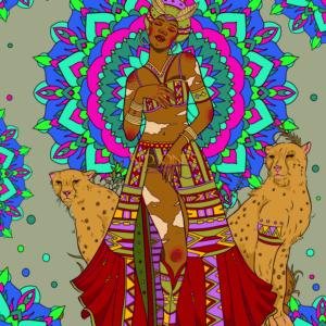Goddess Mafdet Poster Black Fantasy by ND Jones
