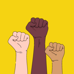 Three fists raised in air, one white, one black, and one brown