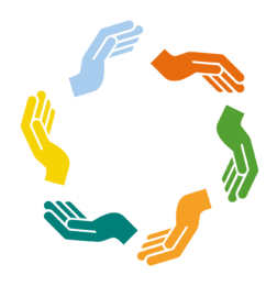 Multi-colored hands in a circle