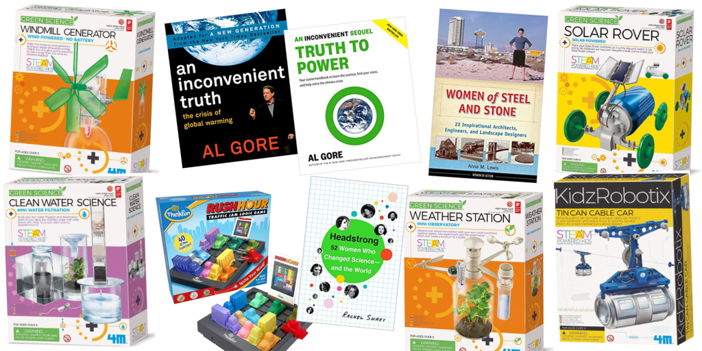 """Potential prizes: """"Headstrong: 52 Women Who Changed Science-and the World"""" book - """"Women of Steel and Stone"""" book - """"An Inconvenient Truth: The Crisis of Global Warming"""" book - """"An Inconvenient Sequel: Truth to Power: Your Action Handbook to Learn the Science, Find Your Voice, and Help Solve the Climate Crisis"""" book - Green Science Windmill Generator Kit - Weather Station Kit - Clean Water Science Kit - Solar Rover Kit - Tin Can Cable Car Kit - Traffic Jam Logic Game"""