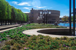 Photo of Christian Science Plaza planted areas with water feature in background