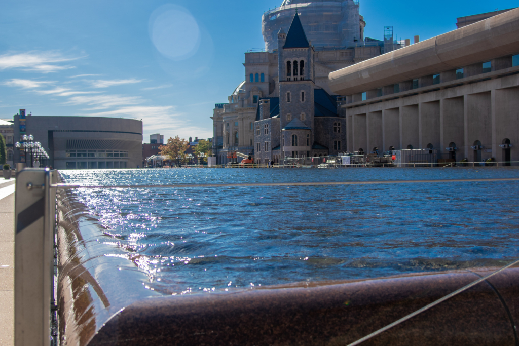 Close-up of water feature at Christian Science Plaza