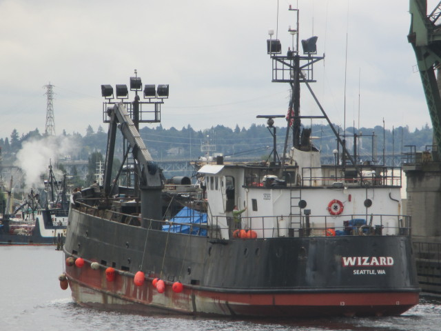 F/V Wizard, Deadliest Catch Boat, Seattle Ship Canal East-Bound, A Boat Load of People on Board, AK Bering Sea Crabber