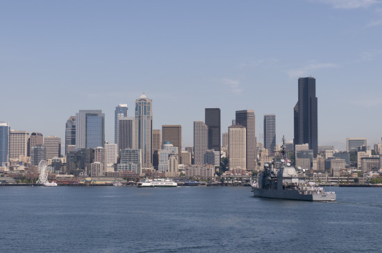 120801-N-TZ605-733 PUGET SOUND (Aug. 1, 2012) The Ticonderoga-class cruiser USS Bunker Hill (CG 52) participates in the Parade of Ships during the 63rd annual Seattle Seafair Fleet Week. Seafair activities allow U.S. and Canadian Sailors and Coast Guard personnel to experience the local community and to promote awareness of the maritime forces. (U.S. Navy photo by Mass Communication Specialist 2nd Class Timothy A. Hazel/Released)