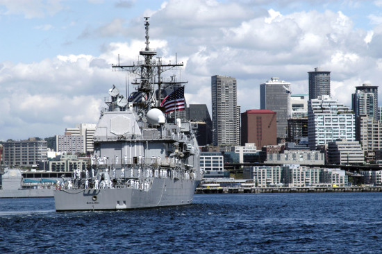 040805-N-0683J-674 Puget Sound, Wash. (Aug 5, 2004) Ð The guided missile cruiser USS Shiloh (CG 67) enters Seattle during the parade of ships, a part of SeattleÕs traditional summer festival, the Seattle Seafair Fleet Week. The 54th annual Seafair events include the Torchlight Parade, the Blue Angels show, amateur athletics, boat racing and U.S. Naval and Coast Guard ship tours. U.S. Navy photo by PhotographerÕs Mate Airman Kristin M. Johnson (RELEASED)