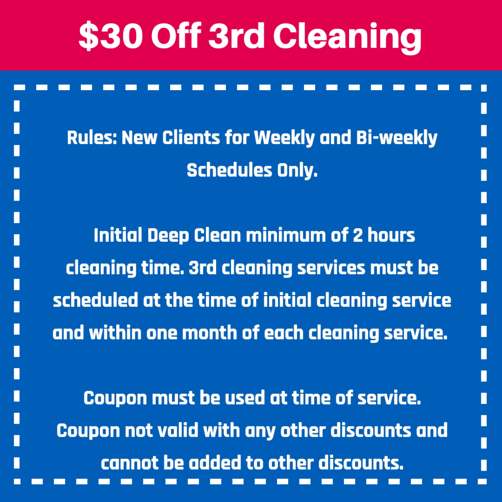 cleaning coupon Mrs. Clean Pittsburgh, cleaning service offer, 30 off 3rd cleaning, mrs clean, pittsburgh pa