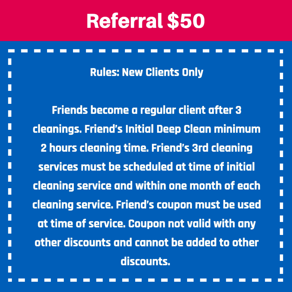 special cleaning offers, mrs clean pittsburgh, referral, cleaning service offer