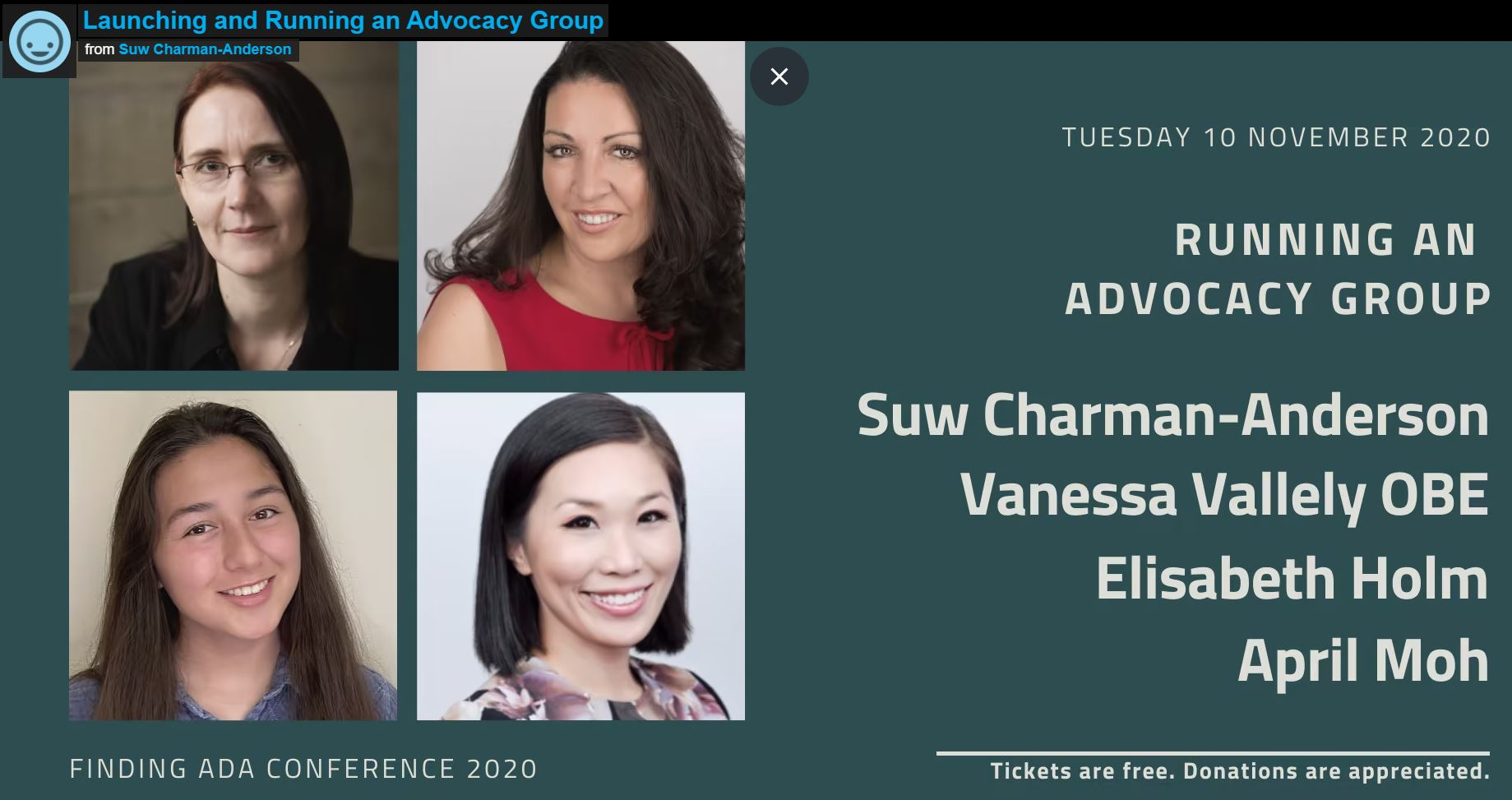 """Featured Panel Member for """"Launching and Running an Advocacy Group"""" – Finding Ada Conference 2020"""