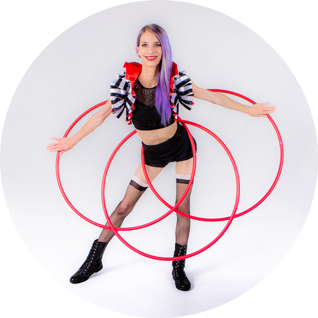 Miss Twisted Rose and Three Hula Hoops